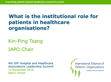 KP Tsang presentation on patient involvement in healthcare institutions