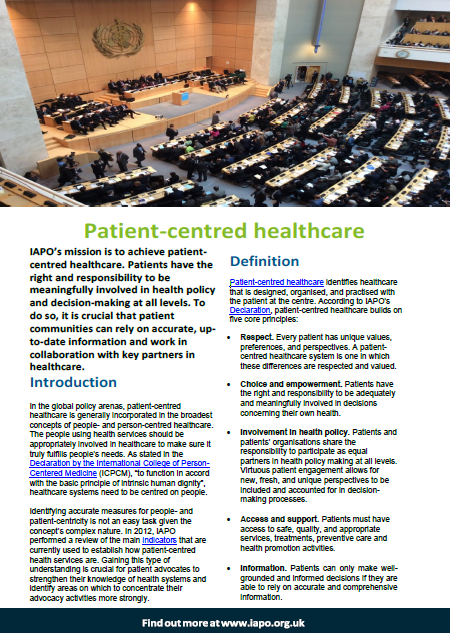 Patient-centred healthcare | International Alliance of